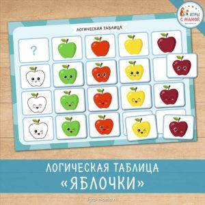 Логическая таблица «Яблочки»